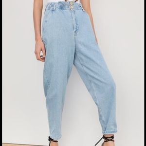 Zara paper bag waisted high rise jeans pants